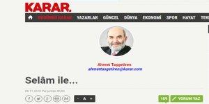 Ahmet Taşgetiren Karar Gazetesinde Yazmaya Başladı