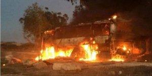 Direniş Güçleri Hedef Aldıkları Siyonistlere Ait Otobüsün Görüntülerini Yayınladı