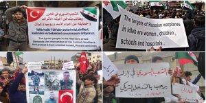 İdlib'de Cuma Sonrası Türkiye'ye Destek Gösterileri Yapıldı