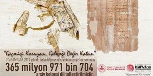 Nüfus ve Vatandaşlık İşleri Genel Müdürlüğü 365 milyon 971 bin 704 arşiv belgesini dijitalleştirdi