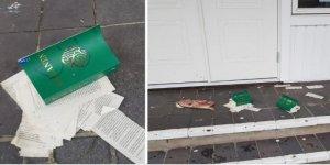 İsveç'te mescidin önüne yakılmış Kur'an-ı Kerim sayfaları ve domuz pastırması bırakıldı