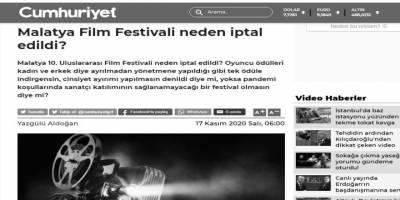 Cumhuriyet, Malatya Film Festivali'nin neden iptal edildiğini anlamamış