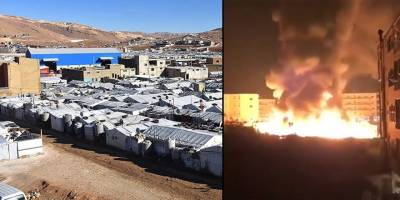 Lübnan'da Suriyeli mültecilerin çadır kampı ateşe verildi