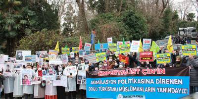 Asimilasyon politikasına direnen Doğu Türkistanlı Müslümanlara destek eylemi