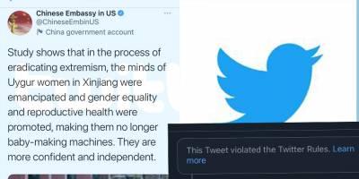 Çin Büyükelçiliğinin insanlık dışı söylemine Twitter'dan engel