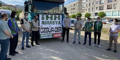 Amasya İHH ve Özgür-Der'den Suriye'ye 1 Tır Yardım