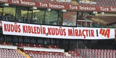 Galatasaray taraftar grubundan yeşil sahada Filistin'e destek