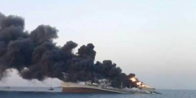 İran donanmasına ait en büyük gemi Umman Denizi'nde battı