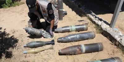 Siyonist İsrail'in Gazze'ye attığı patlamamış 1200 füze, tank ve top mermisi etkisiz hale getirildi