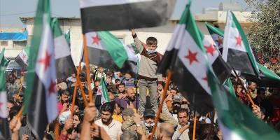Tel Rıfatlılar YPG/PKK ile Esed rejimini protesto etti