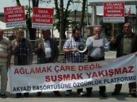 Akyazıda Başörtüsü ve Suriye Protestosu