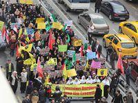 Fatih'te Binler Mısırlı Kardeşlerimiz İçin Yürüdü (FOTO-VİDEO)