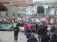 Erzurum'da Baas Rejiminin Varil Vahşeti Protesto Edildi