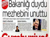 Cumhuriyet Gazetesi'nden 'Mezhepçi' Başlık