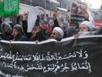 İran'ın Erzurum Konsolosluğu Önünde -25 Derecede Halep Protestosu