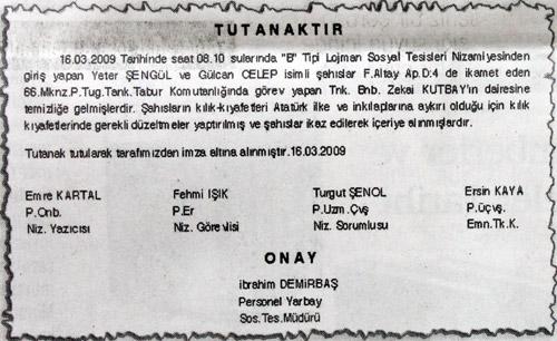 Askerî lojmanda fişleme belgeleri