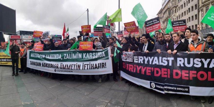 Rusya Konsolosluğu Önünde İdlib Katliamı Protesto Edildi